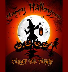Halloween on full moon background vector