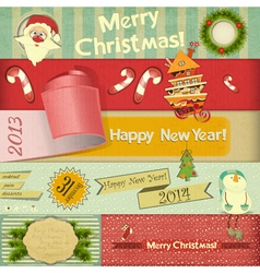 Old christmas and new year postcard vector