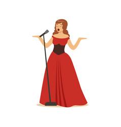 Beautiful woman opera singer in long red dress vector