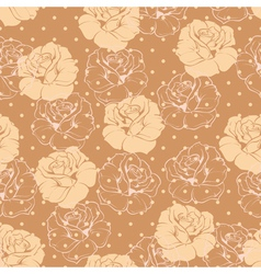 Seamless retro floral pattern with beige roses vector