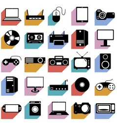 Collection flat icons with long shadow Eectronic vector image