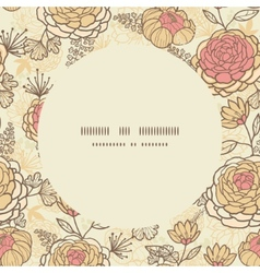 Vintage brown pink flowers circle frame seamless vector