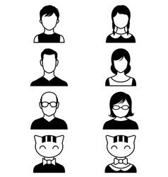 Set of stylized avatars or userpics people and cat vector