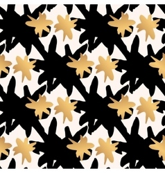 Seamless pattern with gold and black star strokes vector