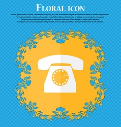 Retro telephone icon symbol Floral flat design on vector image