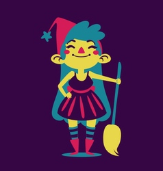Happy witch holding a broom vector