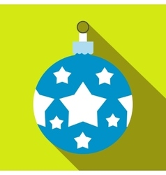 Christmas blue ball flat icon vector
