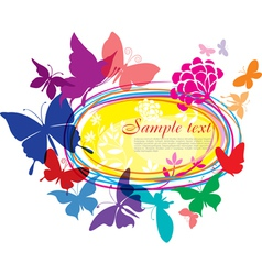 banner with colorful butterflies vector image
