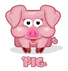 Cute cartoon square pig vector