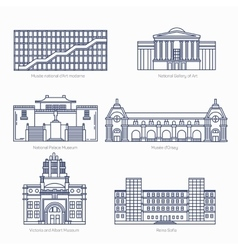 Monuments thin line icons national gallery vector