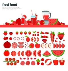 Red healthy food on the table vector