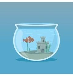 Clown fish in an aquarium with algae and castles vector