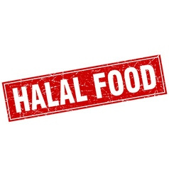 halal food red square grunge stamp on white vector image