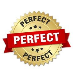 Perfect 3d gold badge with red ribbon vector