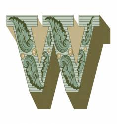 Western letter w vector