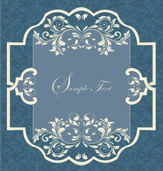 Vintage frame with damask seamless background vector