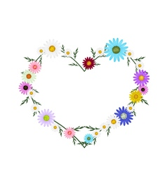 Assorted colors daisy flowers in heart shape vector