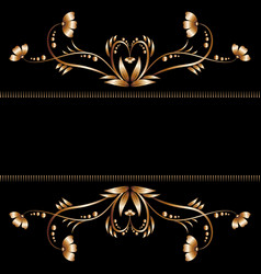 Bright border of gold flowers vector