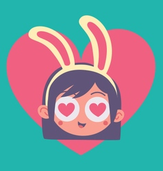 Cartoon bunny girl madly in love vector