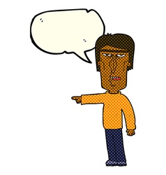 Cartoon pointing man with speech bubble vector