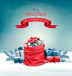 Christmas snowy background with a red sack with vector image vector image