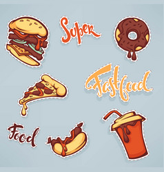 Collection of ffastfood patch badges with burger vector