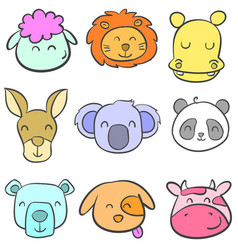 Doodle of cute animal head style vector