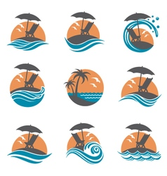 emblems set of summer vacation vector image