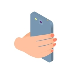 Female hand holds phone icon cartoon style vector