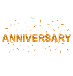 gold anniversary text om white background vector image vector image