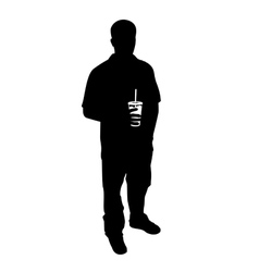 guy with soda silhouette vector image vector image