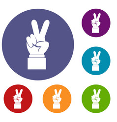 hand with victory sign icons set vector image