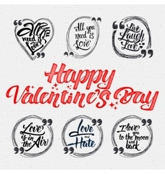 Happy valentine is day calligraphic quotes about vector