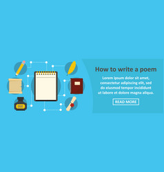 How to write a poem banner horizontal concept vector