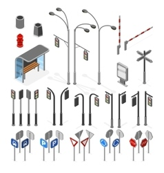 Isometric 3d street road objects icons set vector image