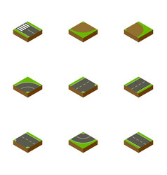 Isometric way set of down strip road and other vector