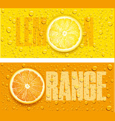 Lemon and orange juice background with water drops vector