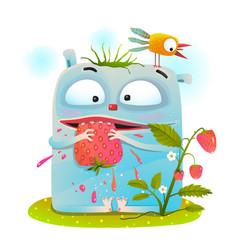 little monster eating strawberry vector image vector image