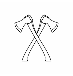Lumberjack axes crossed icon outline style vector