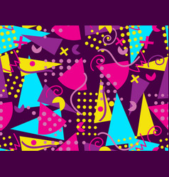 memphis seamless pattern geometric elements vector image vector image