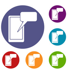 mobile chatting icons set vector image vector image