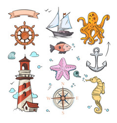Nautical doodle design set with sea star vector