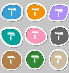 Paint roller symbols multicolored paper stickers vector