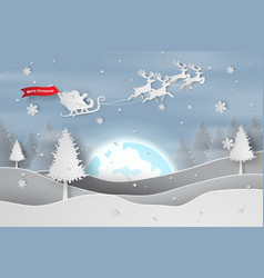 paper art and craft of merry christmas and happy vector image vector image