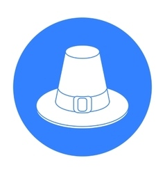 Pilgrim hat icon in black style isolated on white vector