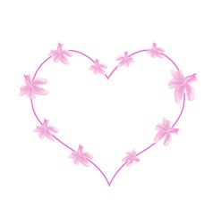 Pink Urena Lobata Flowers in A Heart Shape vector image