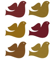 Retro brown dove set isolated on white vector image
