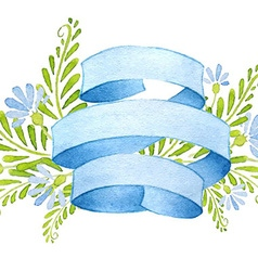 Ribbons with cornflowers and leaves vector image