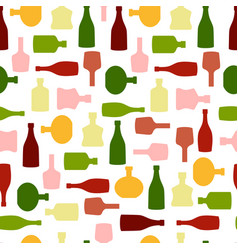 Seamless pattern with color silhouette wine vector