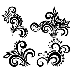set of black and white floral elements vector image